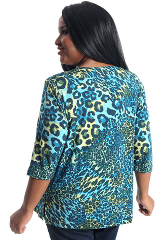 Vikki Vi Jersey Electric Animal 3/4 Sleeve Top
