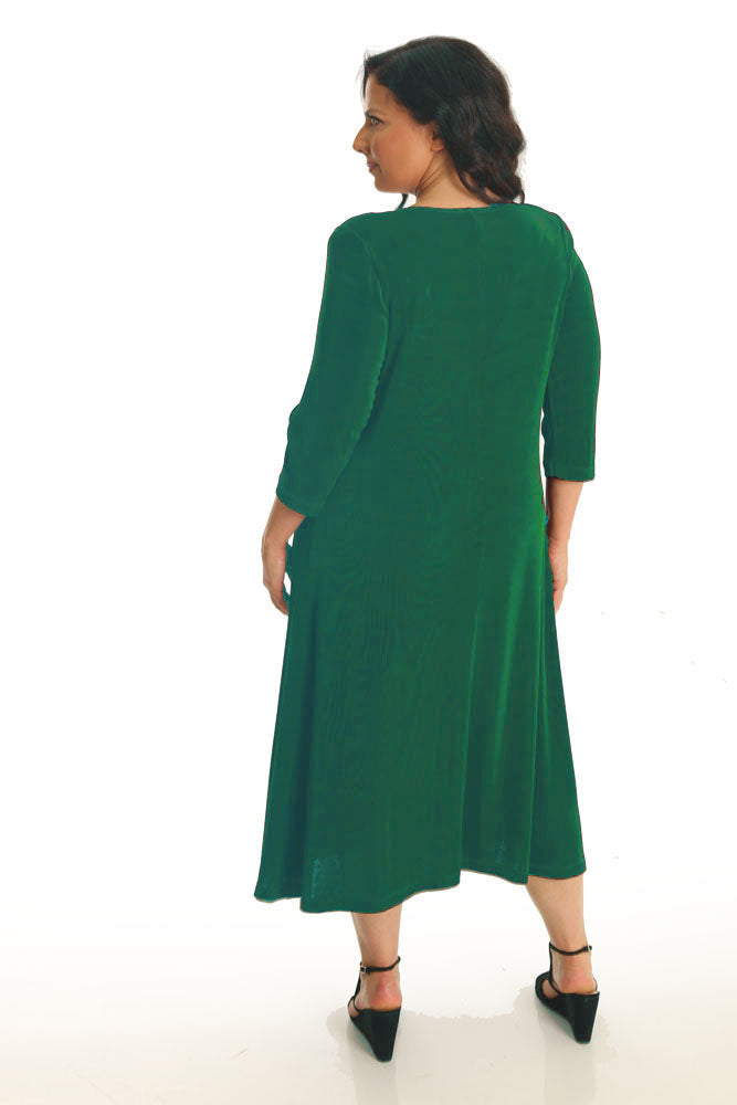 Vikki Vi Classic Emerald 3/4 Sleeve A-Line Dress