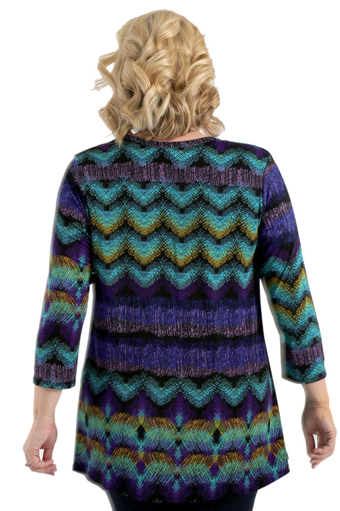 JoStar Etched Chevron V-Neck Tunic