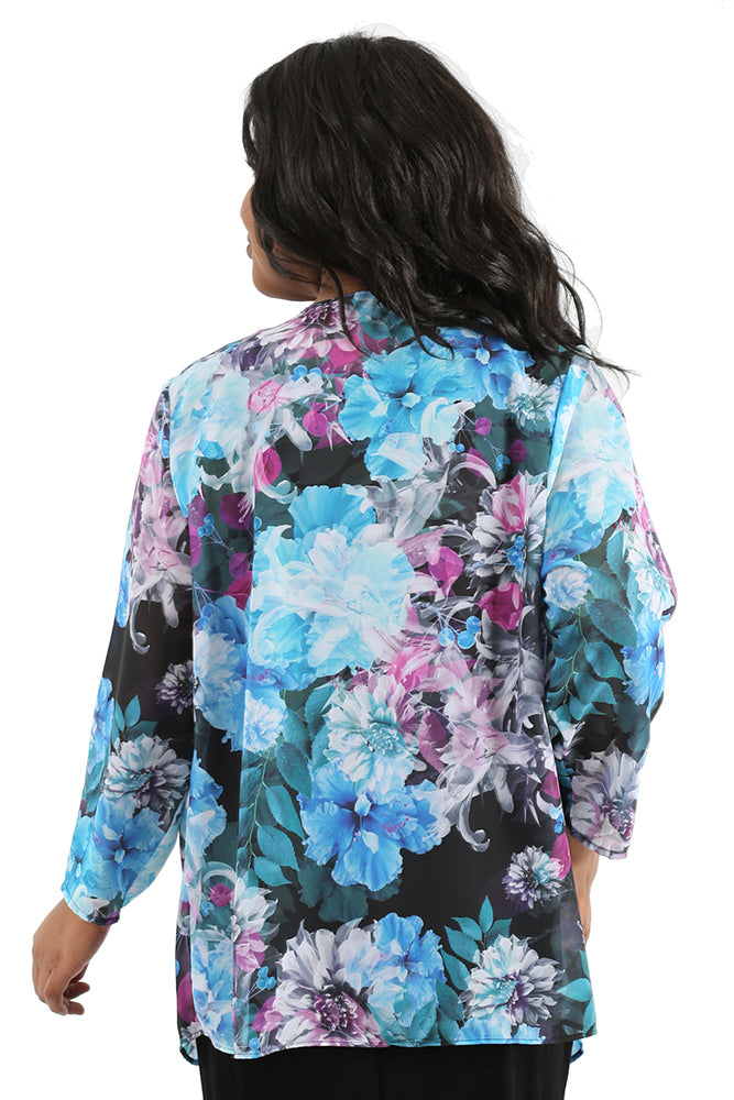 Vikki Vi Twilight Floral Sheer Swing Cardigan