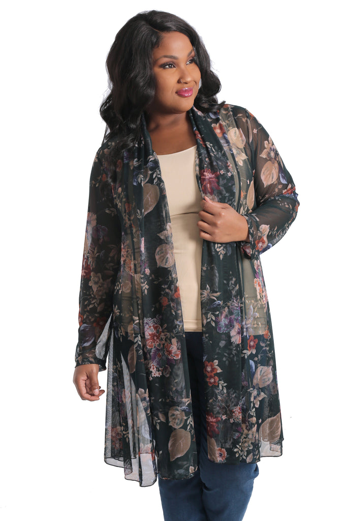 Vikki Vi Fir Green Floral Mesh Gored Duster