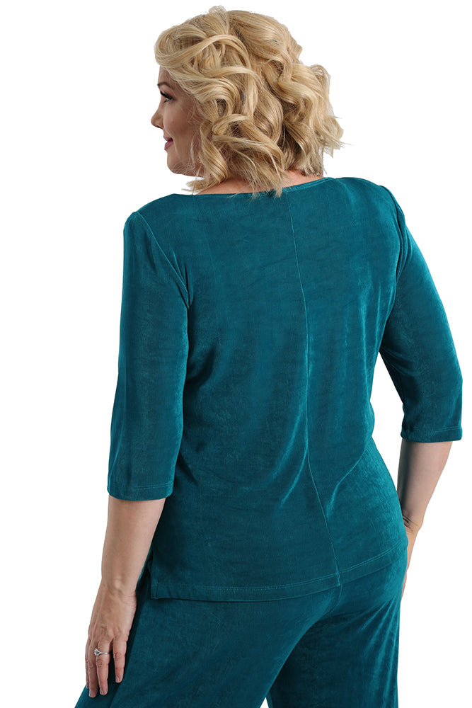 Vikki Vi Classic Fiji Teal Deep Scoop Neck Top