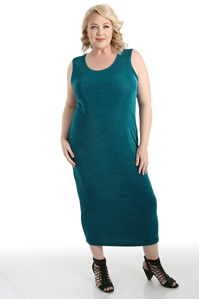 Vikki Vi Classic Fiji Teal Sleeveless Maxi Tank Dress