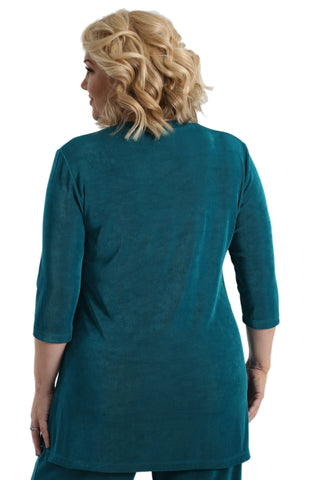 Vikki Vi Classic Fiji Teal Long 3/4 Sleeve V-Neck Tunic