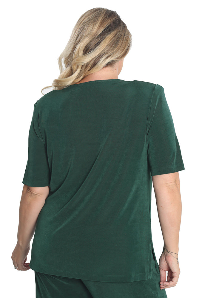 Vikki Vi Classic Fir Green Short Sleeve Tunic