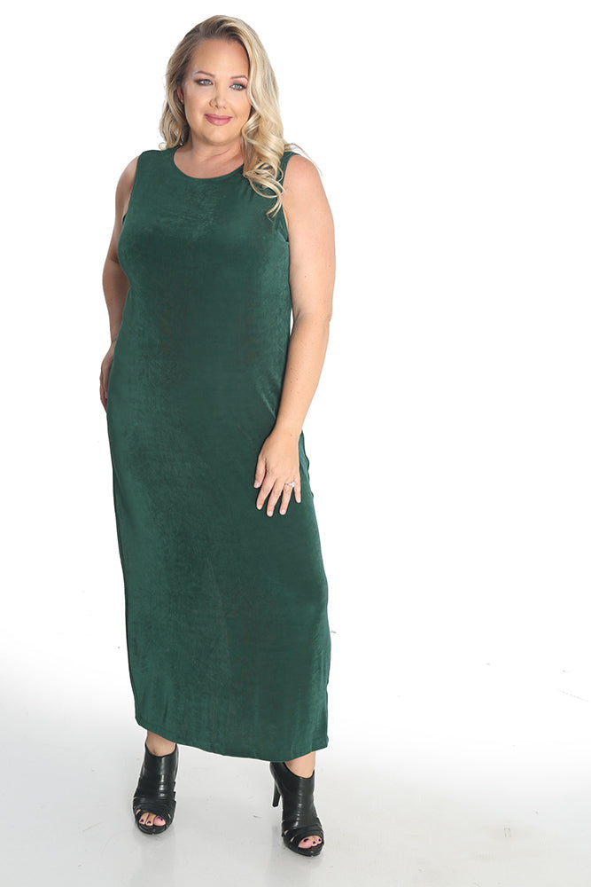 Vikki Vi Classic Fir Green Jewel Neckline Maxi Dress