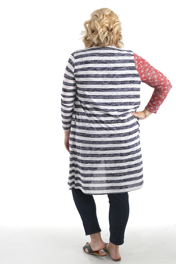 Oddi Stars and Stripes Open Cardigan