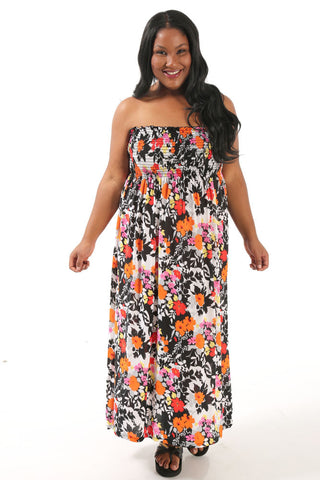 Floral Fun Strapless Lounge Dress
