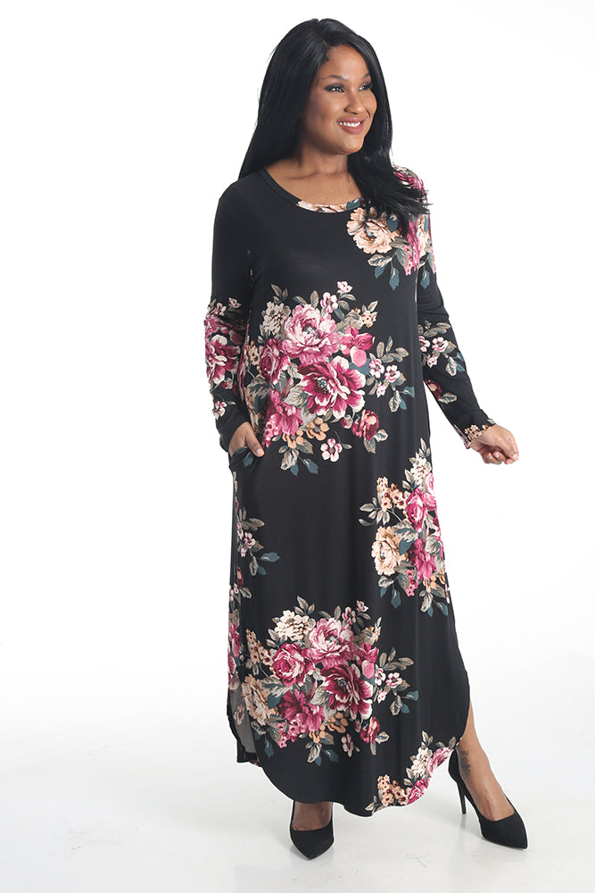 Oddi Soft Knit Long Sleeve Floral Maxi Dress