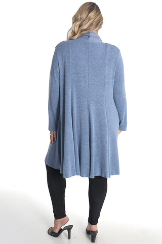 Vikki Vi Heather Blue Swing Sweater Duster