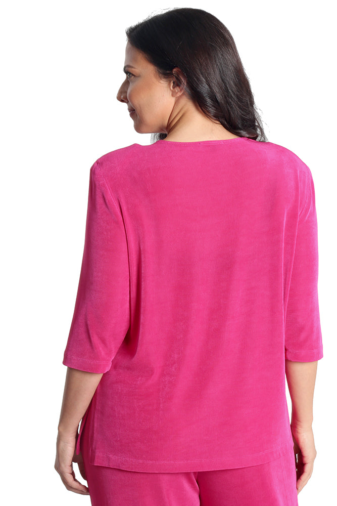 Vikki Vi Classic Hot Pink 3/4 Sleeve Top