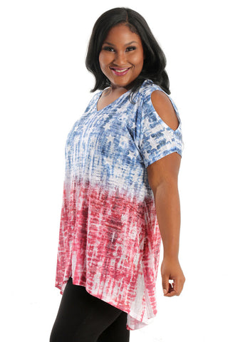 Jess & Jane Americana Cold Shoulder Tunic