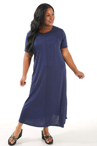 JoStar Navy Mini Dot Short Sleeve Dress