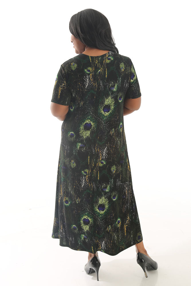 JoStar Olive Regal Peacock Short Sleeve Dress