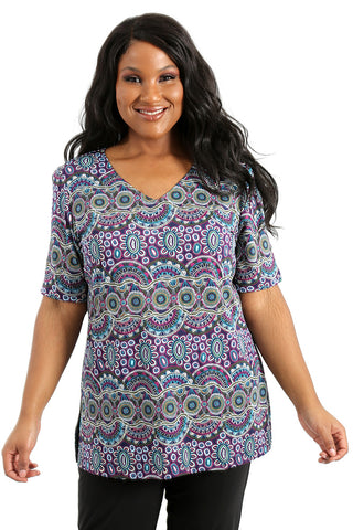 Vikki Vi Jersey Kai V-Neck Short Sleeve Tunic