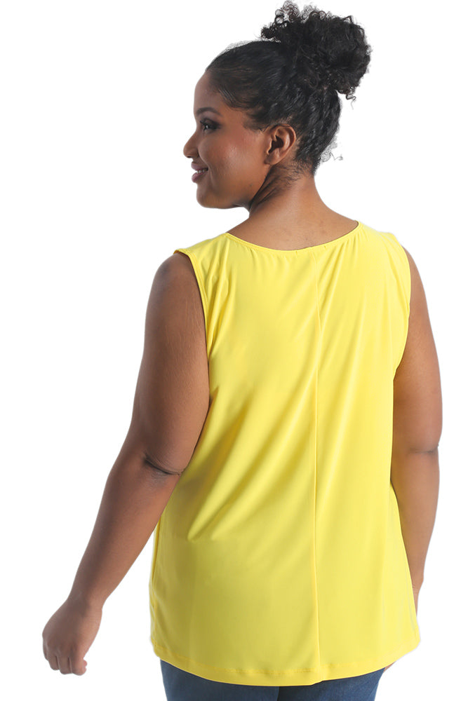 Vikki Vi Jersey Lemon Sleeveless Shell