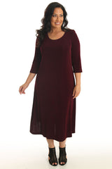 plus size merlot 3/4 sleeve a-line dress