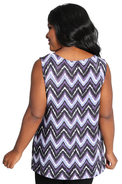 Vikki Vi Jersey Chevron Sleeveless Shell