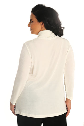 Vikki Vi Classic Natural Long Sleeve Turtleneck Tunic