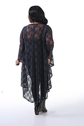 Navy Lace Swing Duster