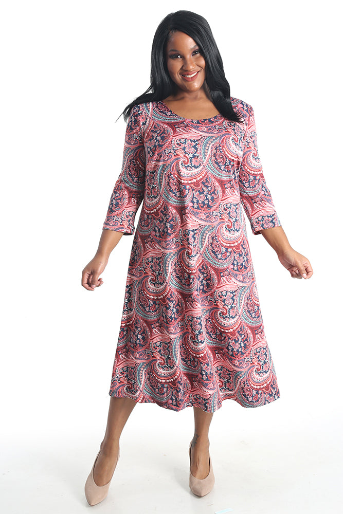 Vikki Vi Jersey Fancy Paisley 3/4 Sleeve A-Line Dress