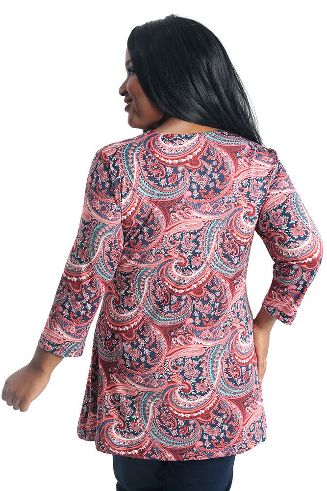 Vikki Vi Jersey Fancy Paisley Cross Over Tunic