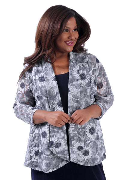 Vikki Vi Navy Sunflower Fit and Flare Cardigan