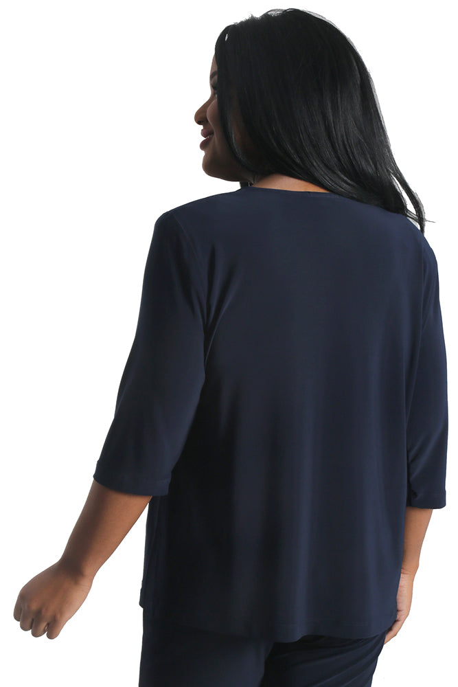 Vikki Vi Jersey Navy 3/4 Sleeve Top