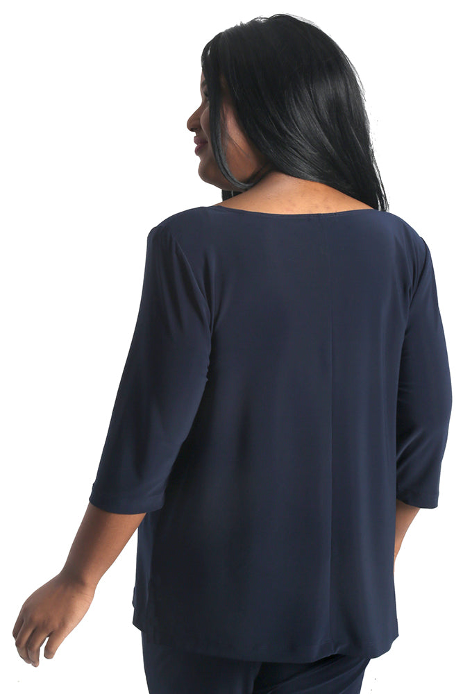 Vikki Vi Jersey Navy Deep Scoop Neck Top