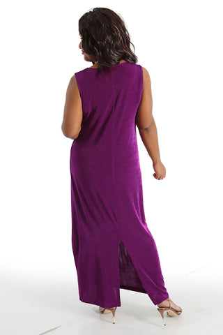 Vikki Vi Classic Orchid Jewel Neckline Maxi Dress