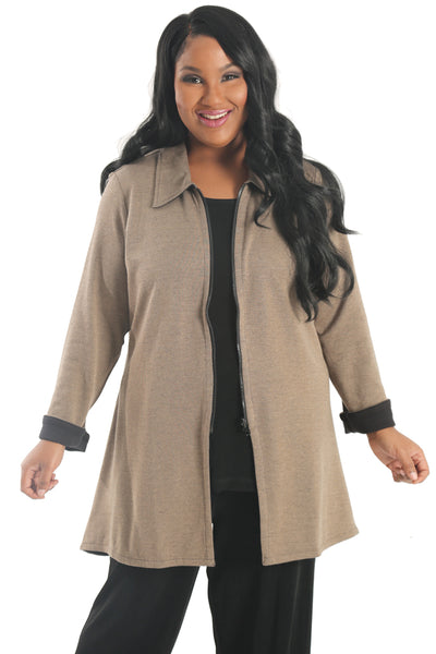 Parsley and Sage Reversable Marlow Jacket in Taupe