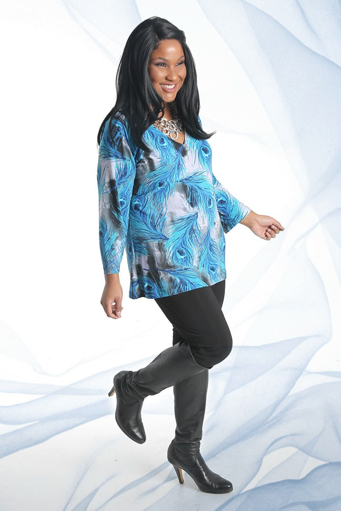 Vikki Vi Jersey Painted Peacock Long Sleeve V-Neck Tunic