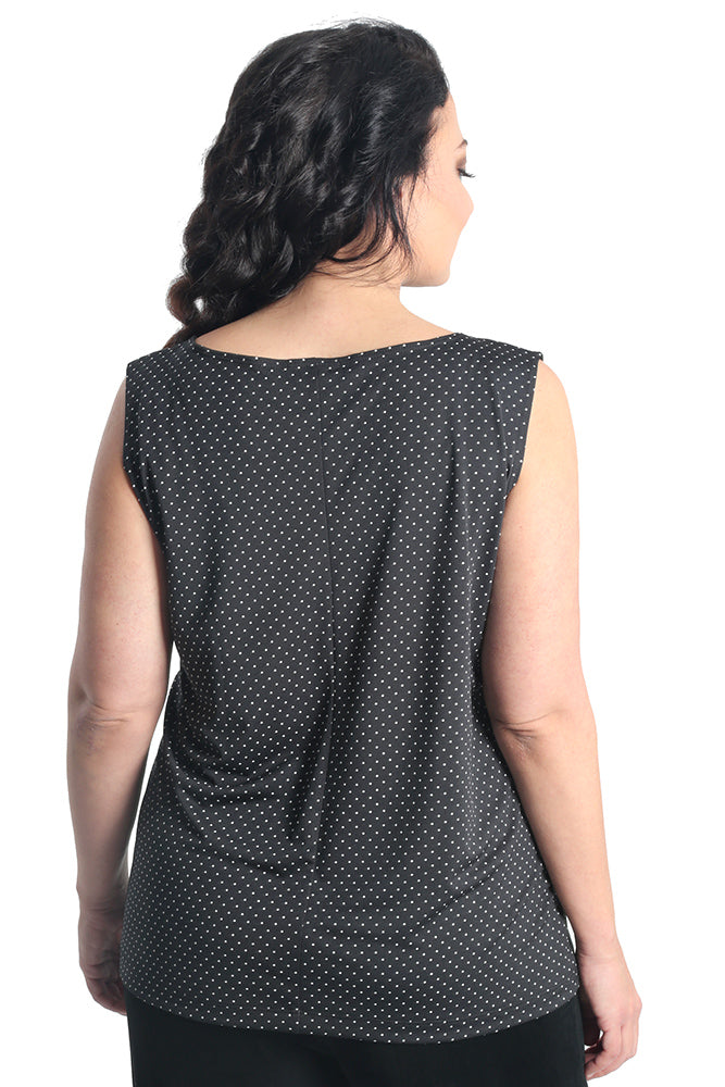 Vikki Vi Jersey Pin Dot Sleeveless Shell