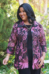 plus size black and plum jacket