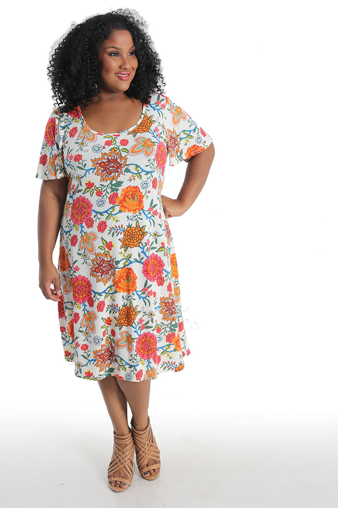 Vikki Vi Jersey Retro Floral T-Shirt Style Dress