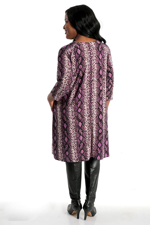 Vikki Vi Brushed Jersey Purple Python Trapeze Dress