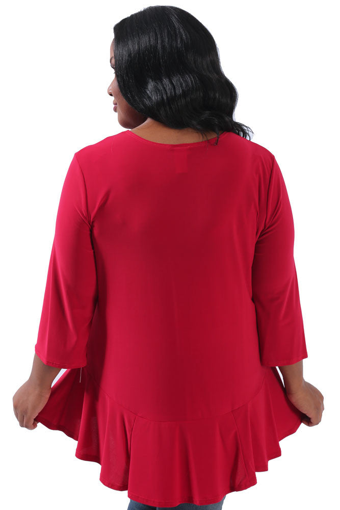 Red Jersey Peplum Tunic