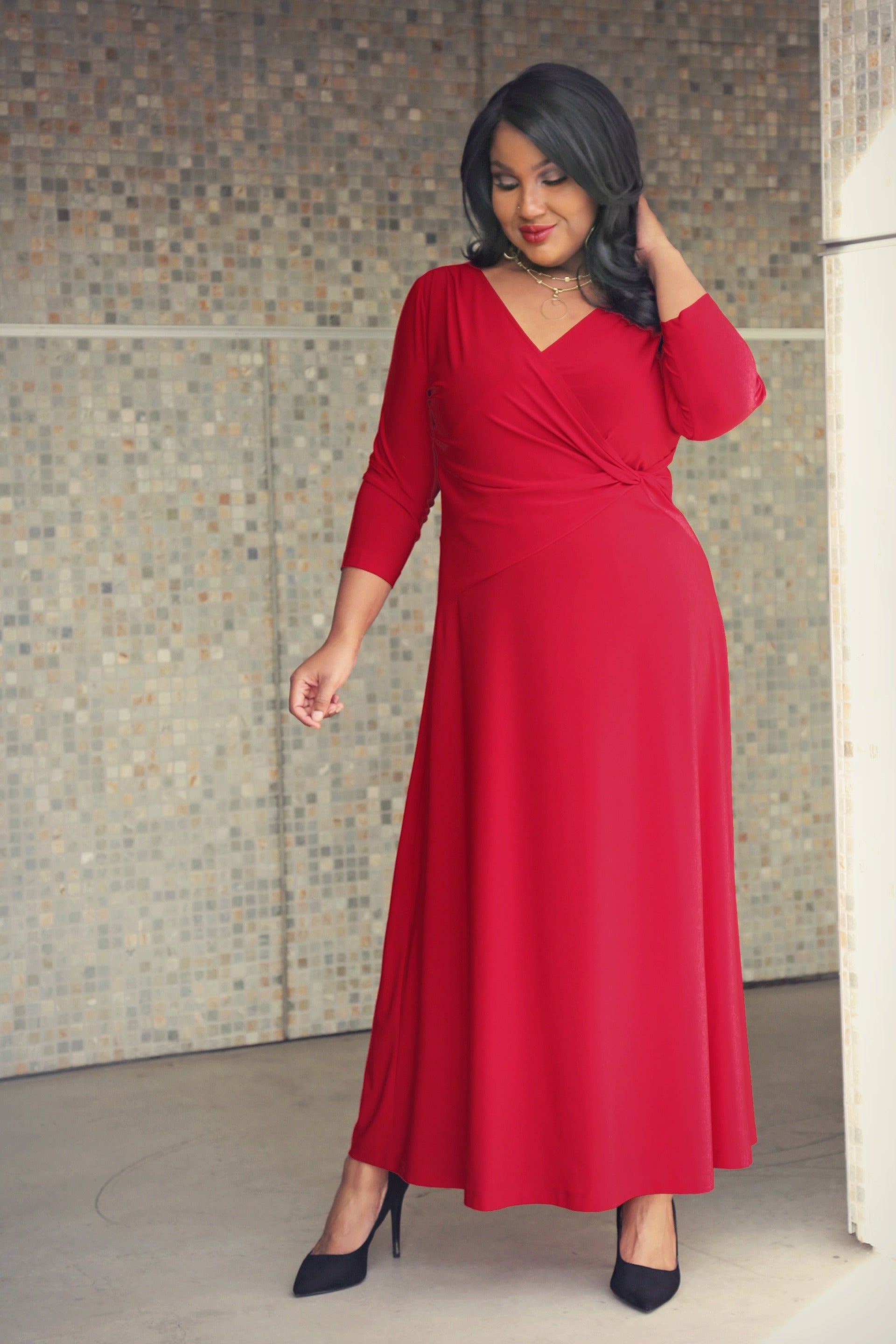 e5684a492f4c Vikki Vi Jersey Red Faux Wrap Maxi Dress - PlusbyDesign.com