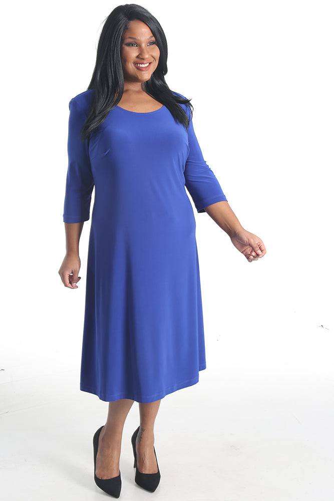 Vikki Vi Jersey Royal Blue 3/4 Sleeve A-Line Dress