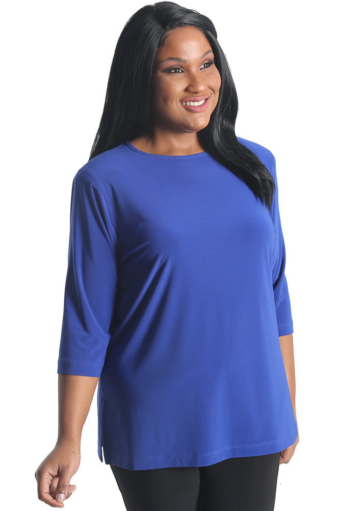 Vikki Vi Jersey Royal Blue 3/4 Sleeve Top