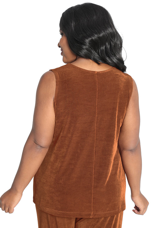 Vikki Vi Classic Rust Sleeveless Shell