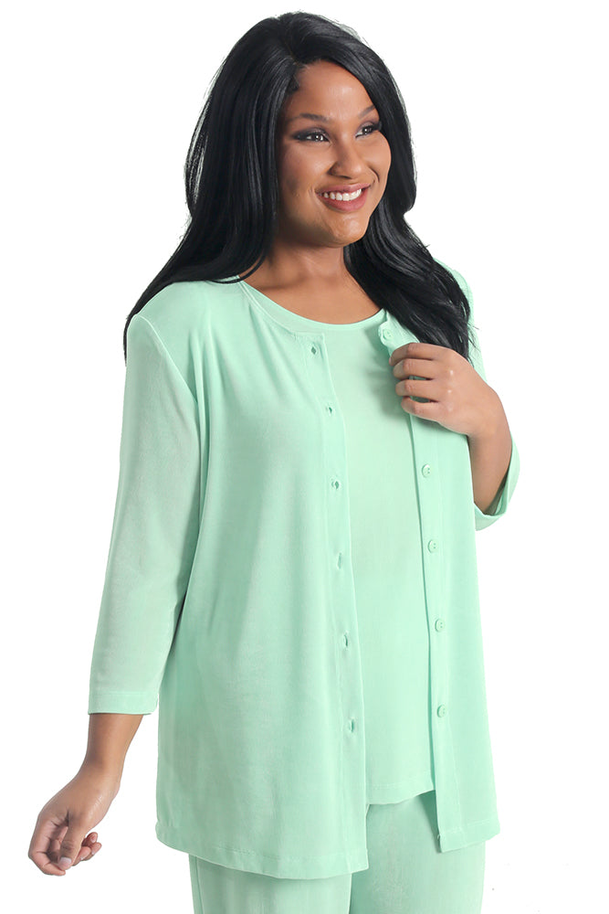 Vikki Vi Classic Sea Glass 3/4 Sleeve Cardigan