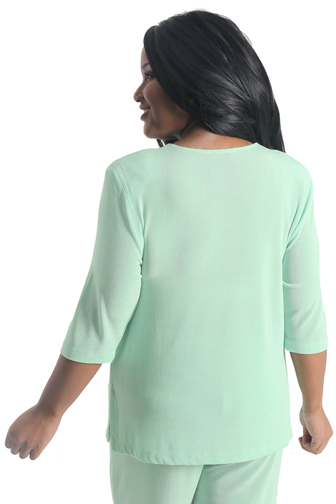 Vikki Vi Classic Sea Glass 3/4 Sleeve Top