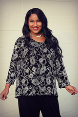 plus size black and silver top