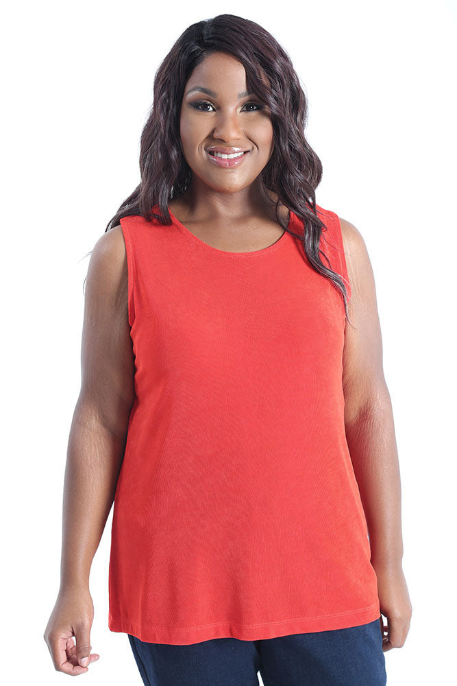 Vikki Vi Classic Sunset Orange Sleeveless Shell