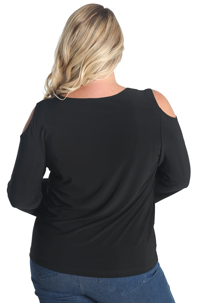 Vikki Vi Jersey Black Long Sleeve Peekaboo Top
