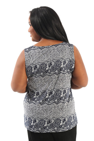 Vikki Vi Jersey Leopard and Lace Sleeveless Tank