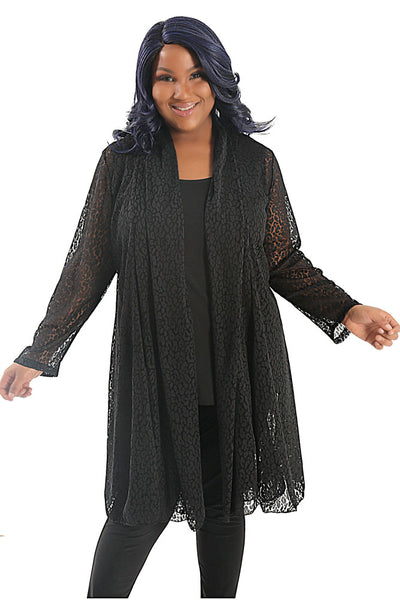 Vikki Vi Black Animal Lace Gored Duster