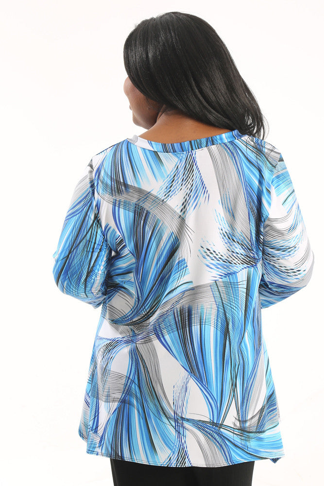 Vikki Vi Jersey Blue Graphic Tunic