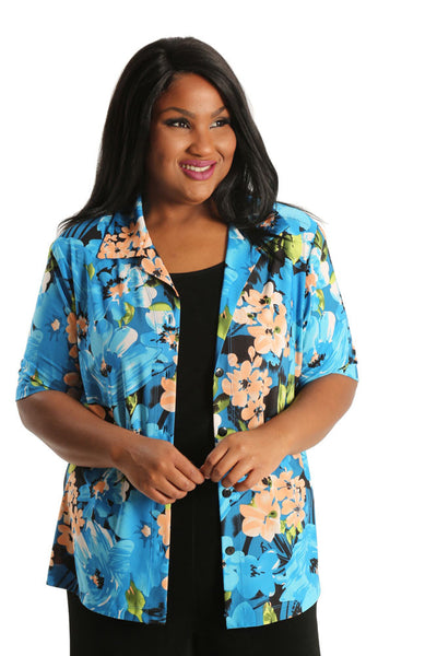 Vikki Vi Jersey Blue Pretty Posy Camp Shirt